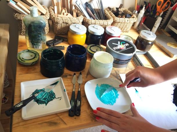 Edmonton Uppercase Press Letterpress Workshop: Mixing turquoise ink