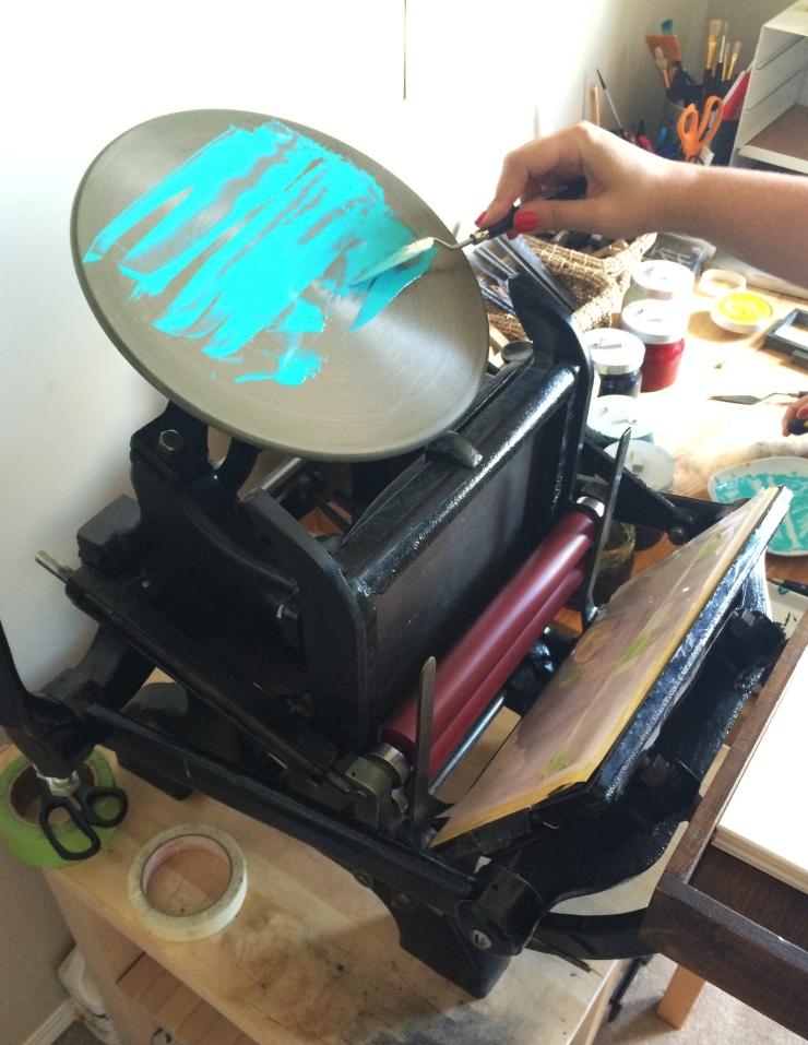 Edmonton Uppercase Press Letterpress Workshop: Applying ink